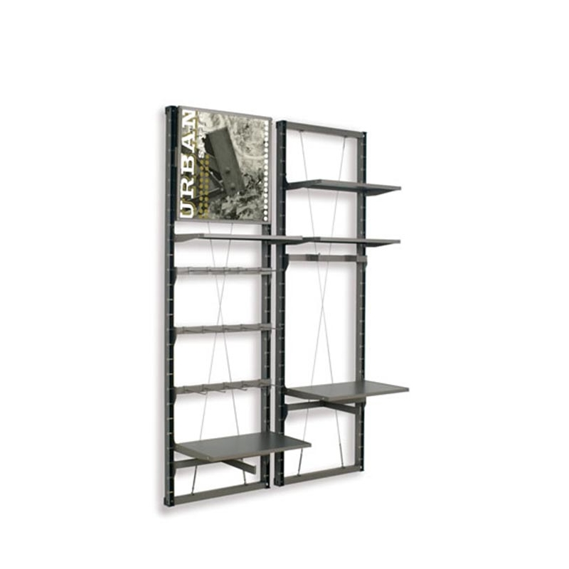 wall mounted wooden panel display rack for garment and shoes